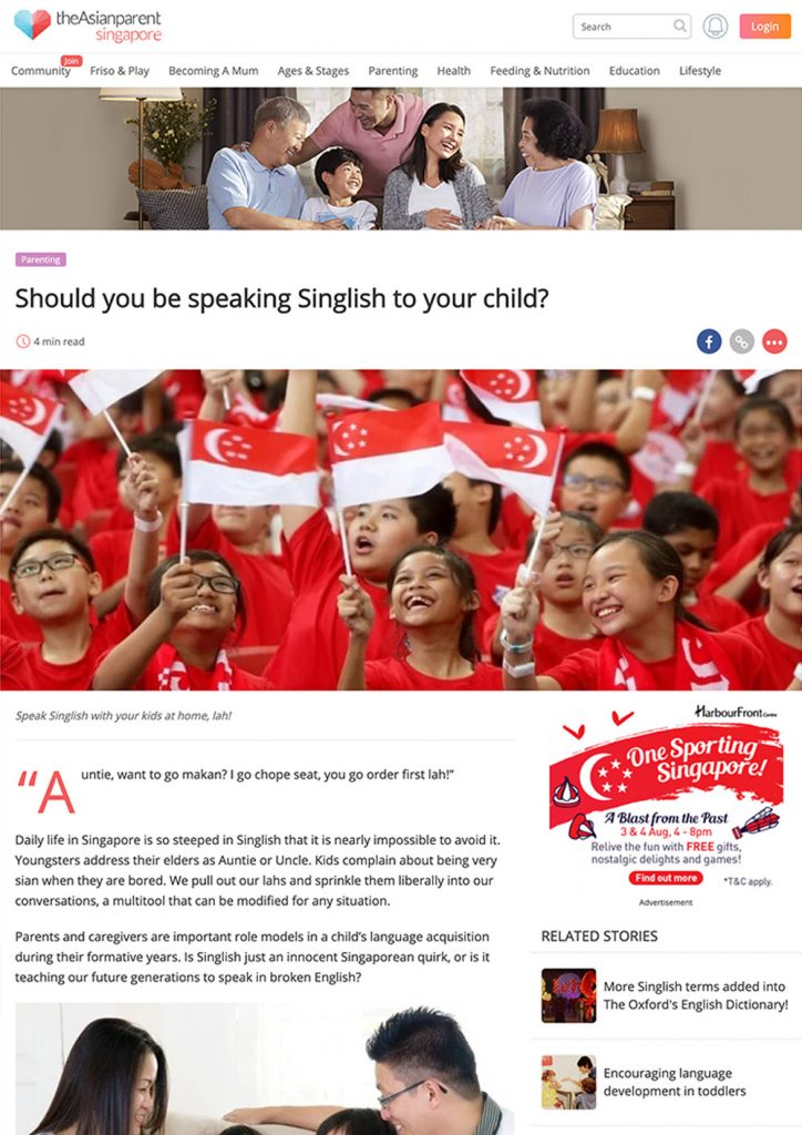 Should you be speaking Singlish to your child?